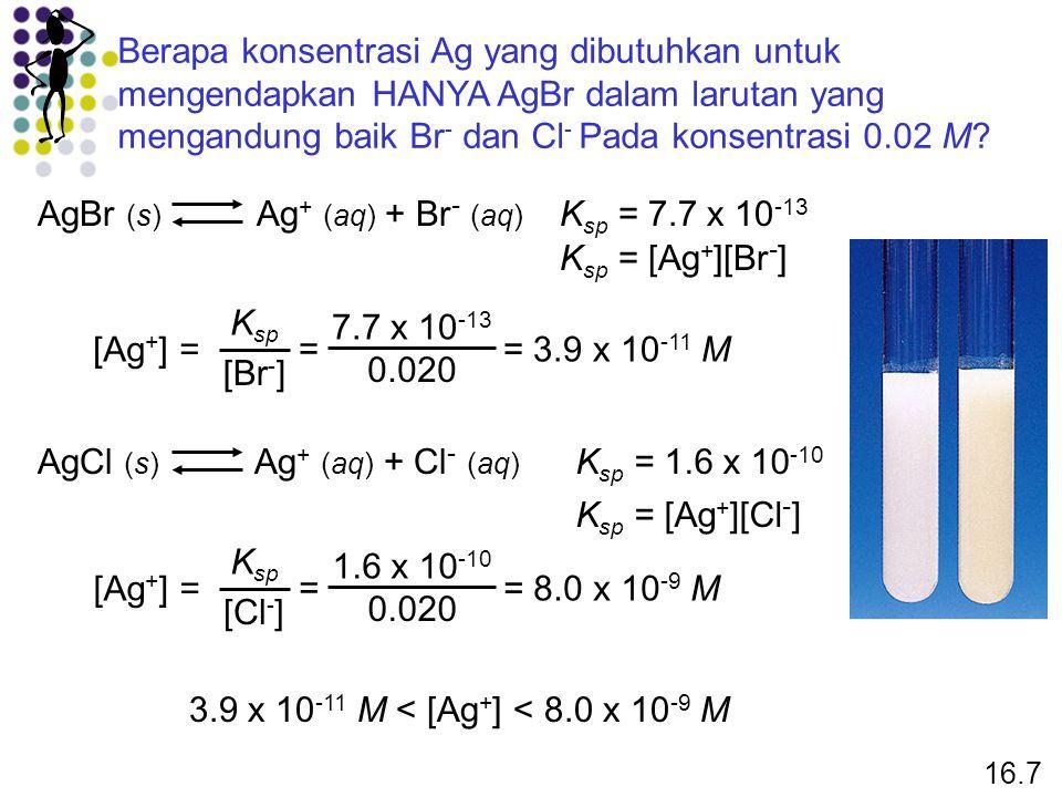 AgBr (s) Ag+ (aq) + Br- (aq) Ksp = 7.7 x 10-13 Ksp = [Ag+][Br-]